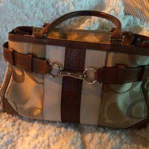 Coach Leather and canvas logo Satchel